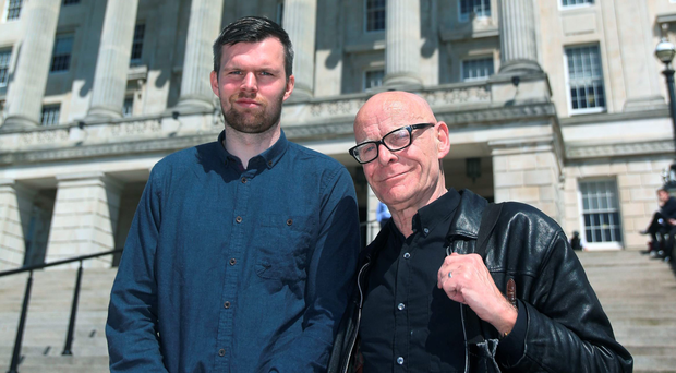 New MLAs Gerry Carroll (left) and Eamonn McCann at Stormont