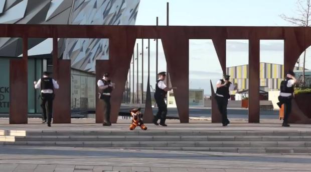 Scenes from the Craigavon PSNI dancing video