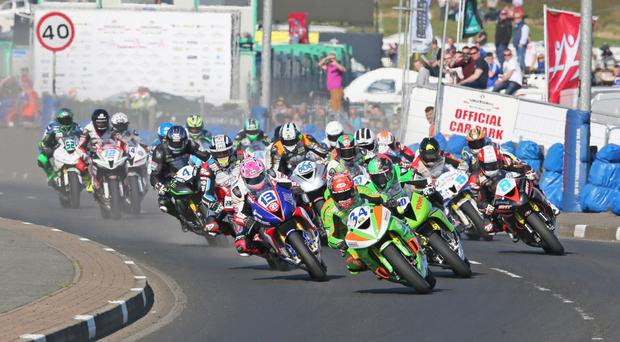 Alastair Seeley leading the opening Supersport race at this year's North West 200