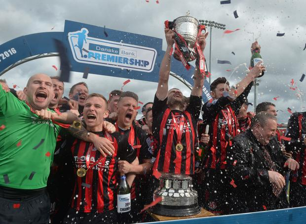 Crusaders celebrate winning the Danske Bank Premiership