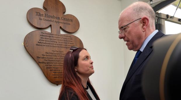Joanne McGibbon, the widow of murdered Michael McGibbon, meets with Irish Foreign Affairs Minister Charlie Flanagan yesterday