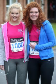Amy Collins and Hannah McCalmont from Belfast at Rockport for the start of the 5k run