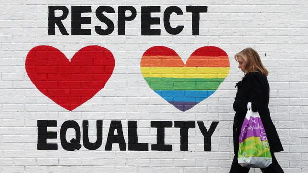 A mural in support of same-sex marriage on the Falls Road in Belfast