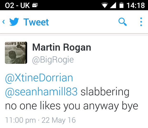 The tweet from Martin Rogan