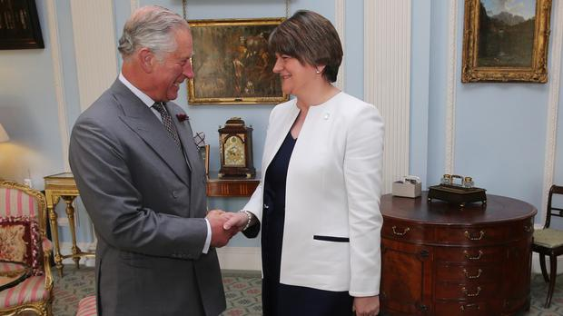 The Prince of Wales meeting Northern Ireland's First Minister Arlene Foster at Hillsborough Castle in County Down.