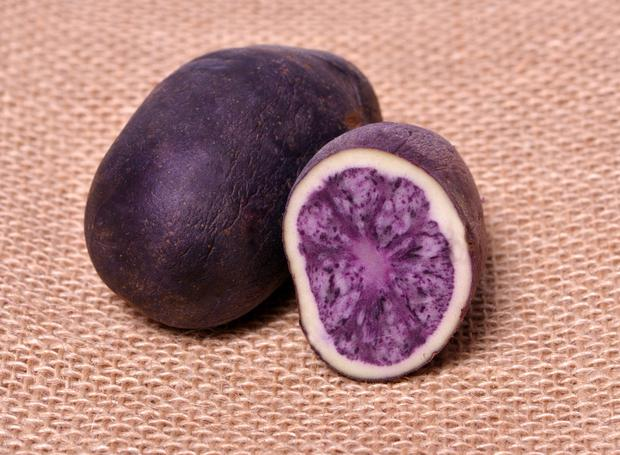 The potatoes are purple inside too