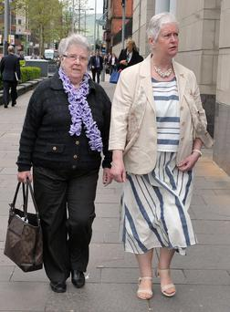 Victims' relatives, May Quinn (left) and Shirley Leeman arrive for the second day of the inquest