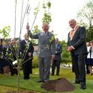 The prince plants a tree to mark his visit to the Orange Museum of Heritage