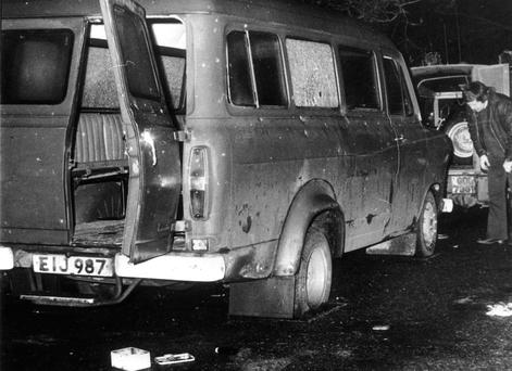 The bullet riddled minibus where ten Protestant textile workers were shot shot dead in a sectarian IRA attack near the Co Armagh village of Kingsmill in 1976