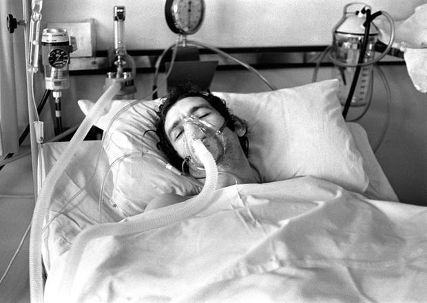 Alan Black in hospital after the IRA shot him and killed 10 of his colleagues at Kingsmills