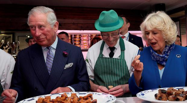 Prince Charles and the Duchess of Cornwall at McGettigans Butchers store in Donegal