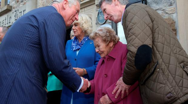 The Prince of Wales met Philomena Barry, who was the housekeeper of his great-uncle Lord Mountbatten, on his visit to Donegal Town