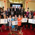Lord Mayor Arder Carson with nurses at the Freedom of the City ceremony held in Belfast City Hall last night