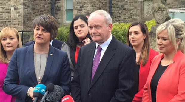 First Minister Arlene Foster and Deputy First Minister Martin McGuinness and the new-look Stormont Executive
