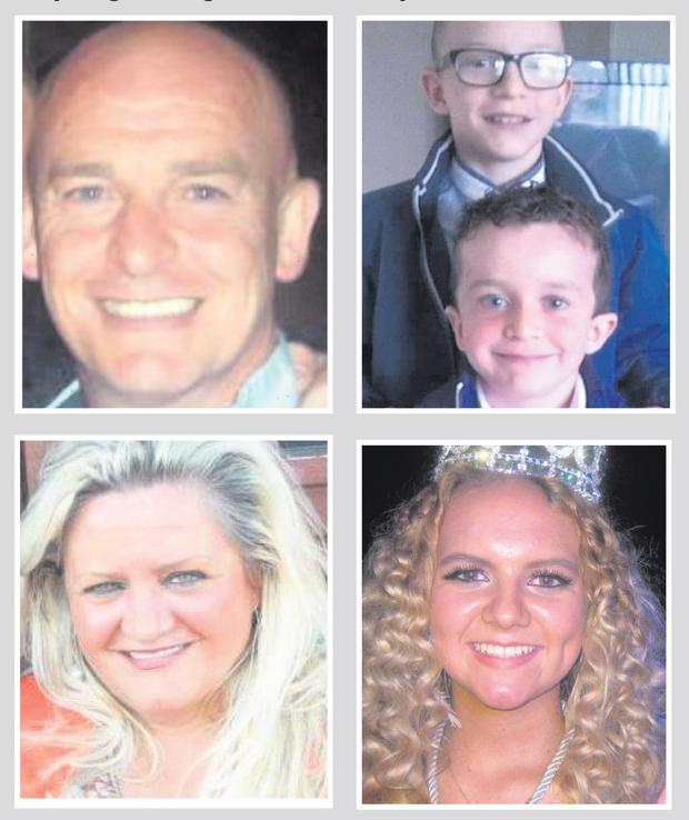 The victims of the Buncrana tragedy: (clockwise from top left) Louise's partner Sean McGrotty, their two sons Mark and Evan, sister Jodie Lee Daniels and her mother Ruth