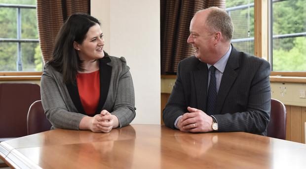 New Justice Minister Claire Sugden meets PSNI Chief Constable George Hamilton at Stormont yesterday