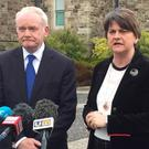 First Minister Arlene Foster and Deputy First Minister Martin McGuinness outside Stormont Castle