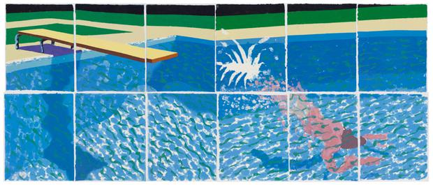 """Le Plongeur Paper Pool 18 (1978)"" by David Hockney"