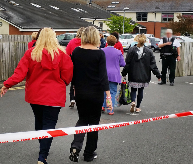 Staff and pupils are evacuated at Kilmaine Primary School, Bangor
