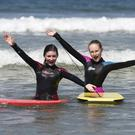 Sarah Baker (left) and Amy Cooper at Castlerock beach during the bank holiday weekend