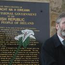 Spray paint was used to deface an engraved copy of the Proclamation
