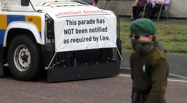 There has been condemnation after children were present at a dissident parade in Lurgan last week