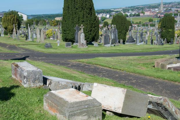 Some of the graves at Derry's City Cemetery which were desecrated by vandals