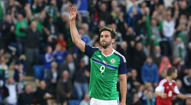 Will Grigg celebrates scoring his first goal for Northern Ireland last week