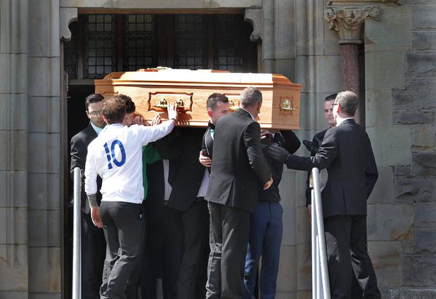 The funeral of 21-year-old boxer Thomas Waites at Our Lady of The Assumption church in Magherafelt, Co Londonderry