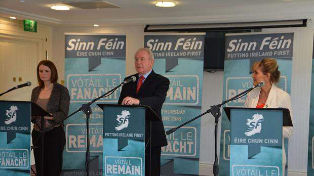 Martin McGuinness MLA with Caoimhe Archibald MLA and Martina Anderson MEP at the launch of Sinn Fin's Putting Ireland First - Vote Remain campaign in Belfast