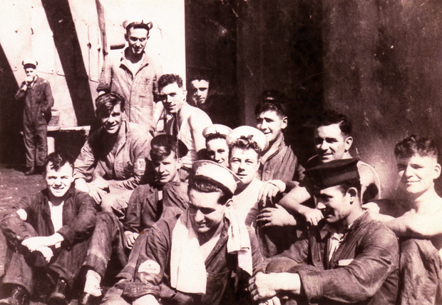 Able Seaman Patrick Lynas (front row, left) as a young man on board HMS Rodney, which played a key role in sinking the feared German battleship Bismarck