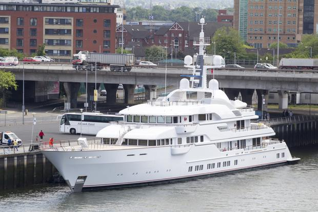 The luxury yacht berths in Belfast near the SSE Arena