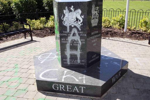 The memorial which was vandalised in Woodvale Park