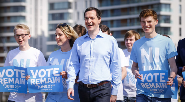Chancellor George Osborne at Belfast Harbour yesterday as he meets with local Remain campaigners