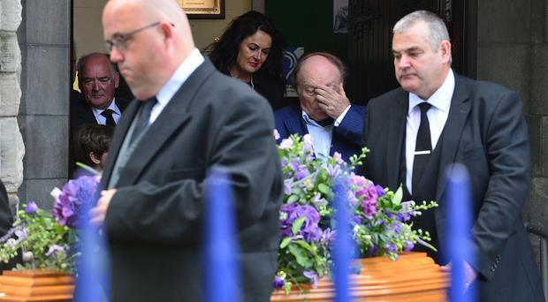 Van Morrison follows the coffin of his mother Violet after the funeral service at St Donard's Parish Church in Bloomfield, east Belfast