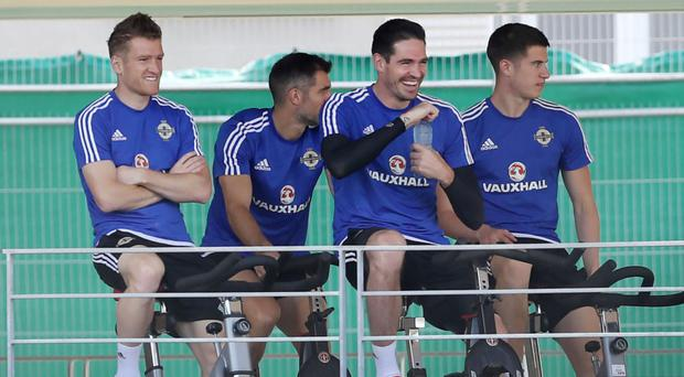 Some of the Northern Ireland players during a training session yesterday