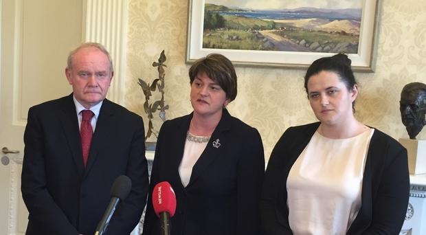 Deputy First Minister Martin McGuinness, First Minister Arlene Foster and Justice Minister Claire Sugden at Stormont Castle following the announcement that beefed-up justice measures, new decommissioning mechanisms and school visits by reformed gunmen are included in a proposed blue print for tackling paramilitarism in Northern Ireland