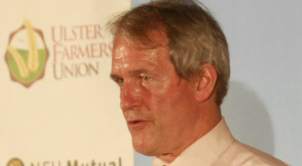 High-profile Brexit campaigner and former Northern Ireland Secretary of State Owen Paterson addresses the farmers' debate on the EU referendum last night