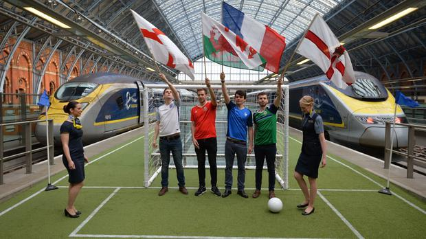 Fans at St Pancras prepare to board Eurostar trains to France for the Euro 2016 tournament