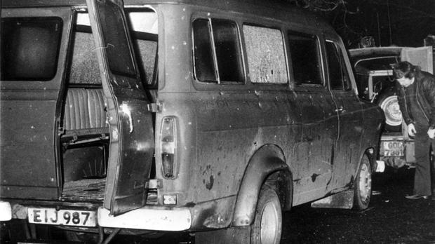 The bullet-riddled minibus near Whitecross in South Armagh where 10 Protestant workmen were shot dead in January 1976