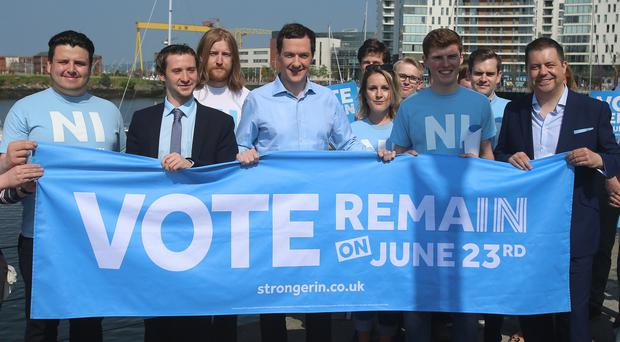 Chancellor George Osborne appeared in in Belfast Harbour in Northern Ireland this week to meet members of the NI Stronger In campaign group