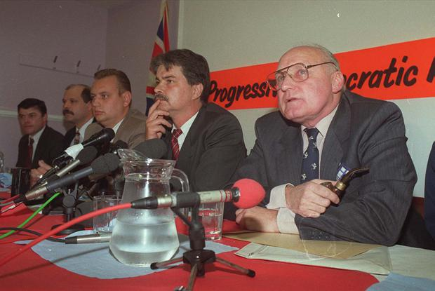 Former UVF leader and Loyalist icon Gusty Spence along with William Smith, Gary McMichael, David Irvine and David Adams announces the loyalist ceasefire in 1994