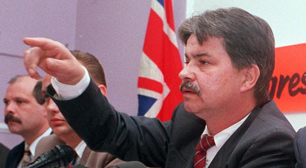 William 'Plum' Smith makes a point at the meeting where the loyalist ceasefire was announced in 1994