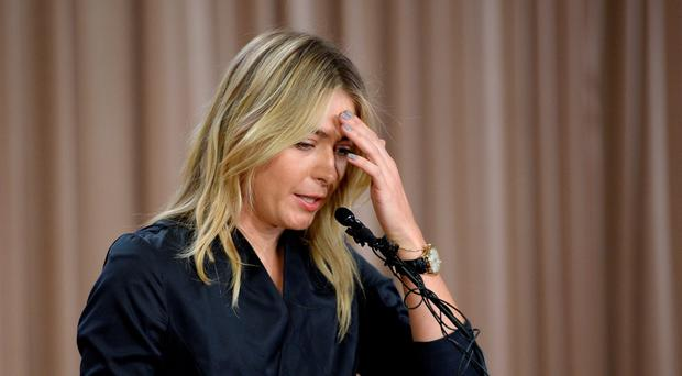 Maria Sharapova speaking to the media in March about her failed drugs test
