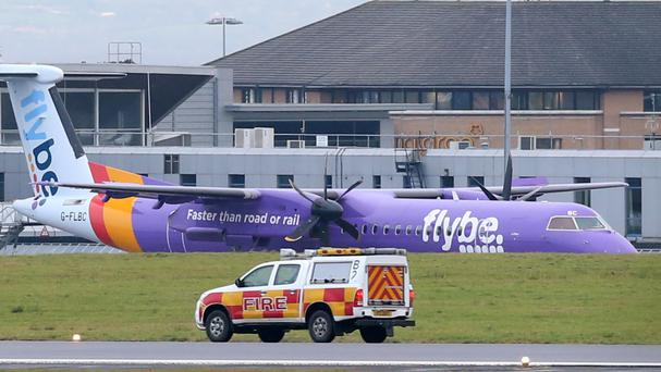 The Flybe flight en route from Glasgow to Belfast was forced to make an emergency landing at Belfast International Airport