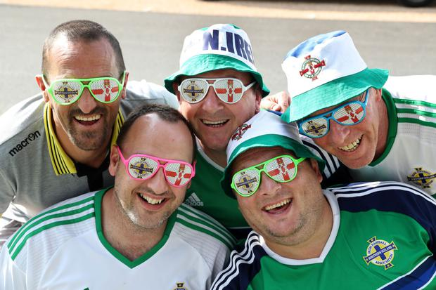 Northern Ireland fans Eddie McCullough, George McFall, Ian Thompson, Darren McDonald and Russell Bridgett in Georges de Reneins, France