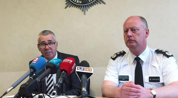 Bedfordshire chief constable Jon Boutcher, left, with PSNI chief constable George Hamilton