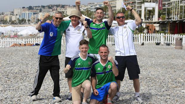 Northern Ireland fans arrive on the beach near Promenade des Anglais, Nice, France