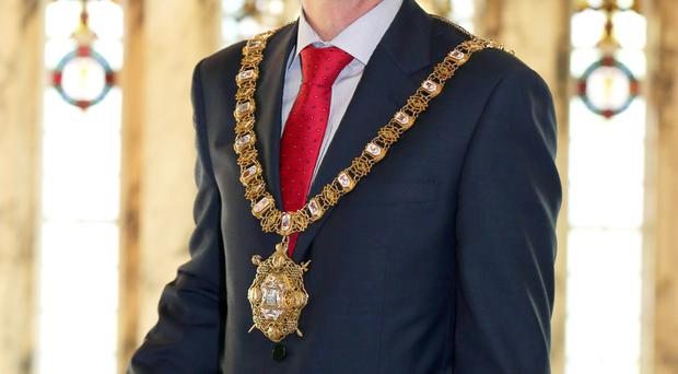Belfast's new Lord Mayor, Brian Kingston and (right), at the Tour of the North parade