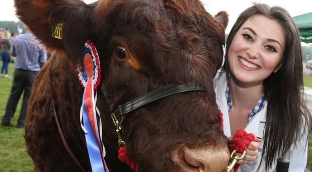 Chloe Henning with her Champion Bull